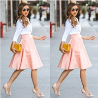 elbiseler alevlendirilmiş etekler toptan satış-Kadın Vintage Yüksek Bel Streç Patenci Flared Pileli Salıncak Etek Elbise