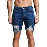 estilo sexy do hip hop venda por atacado-2019 Homens Verão Denim Shorts Jean Shorts Para Homens Sexy Buraco Rasgado Estilo Hip Hop Moda Streetwear Tornozelo rasgado jeans