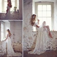 Wholesale sexy sheath backless wedding dresses resale online - Sexy Beaded Lace Wedding Dresses Matched Bow Court Train Custom Made V Neck Elegant Beach Bridal Gowns with Cap Sleeve
