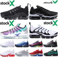 Wholesale running shoes usa resale online - Triple Black White Plus Shoes for Men Women Design SUNSET USA Ice Blue Running shoe Sneakers Bumblebee Trainers men s Grape Volt Trainers