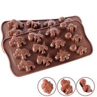 moldes de chocolate para animales al por mayor-12 Rejillas de Silicona Creativa Moldes de Chocolate Animal Lindo Dinosaurio En Forma de Pastel Molde Para Hornear Fit Hogar Utensilios Para Hornear Herramienta 1 8tl E1