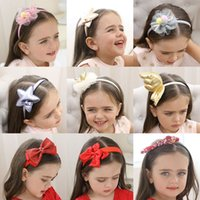 Wholesale black head stick resale online - Baby Girl Headband Headwear Children Head Hoop Kids Hair Sticks Bowknot Flower Gauze Floral Crown Cloth