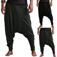 Mens Autumn Stripe Loose S 5XL Casual Pants Pockets Elastic Waist Baggy Harem Pants