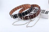 Wholesale free dhl buckle belt resale online - Detachable Waist Belt Chain Punk Hip hop Trendy Women Belts Lady Fashion silver Pin Buckle leather Waistband Jeans DHL