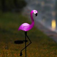 gartenpfahl solarlampe großhandel-Solarbetriebene rosa Flamingo-Rasen-Dekor-Garten-Pfahl-Landschaftslampe-Außenleuchte