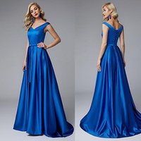 Wholesale red satin line skirt for sale - Group buy 2019 V Neck Cap Sleeve Cheap Evening Dresses Satin A Line Pleated Skirt Modest Prom Dresses with Lace Up Back Formal Dresses for Juniors
