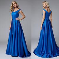 Wholesale modest prom dresses cap sleeves resale online - 2019 V Neck Cap Sleeve Cheap Evening Dresses Satin A Line Pleated Skirt Modest Prom Dresses with Lace Up Back Formal Dresses for Juniors