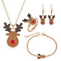 ingrosso anno dei gioielli-4PCS decorazioni / Set di Natale per casa di Babbo Natale Gioielli Xmas Buon orecchini regalo di Natale ornamento Felice Anno Nuovo