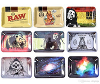 Wholesale raw for sale - Group buy RAW Bob Marley mm Tobacco Rolling Metal Tray Handroller Roll Case Styles Smoking Accessories Grinder Roller Over DHL