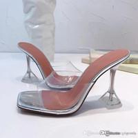 sandálias de sola de tecido venda por atacado-Transparente Sandálias de Salto Médio Feminina, Molas de Salto Alto Mantas, Tecido de PVC, com couro Sole Salto-altura 10.5 cm