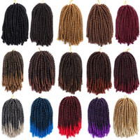 Wholesale ombre braiding hair extensions online - Synthetic Braiding Hair Crochet Braids Single Ombre Color Spring Twist Synthetic Hair Extensions g Strands In Stock
