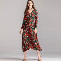 Women's Runway Dresses Sexy V Neck Long Sleeves Ruched Floral Printed Fashion Mid Calf Dresses