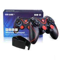 controlador de juegos bluetooth teléfono al por mayor-Joystick inalámbrico Gamepad Game Controller bluetooth BT3.0 Joystick para teléfono móvil Tablet TV Box Holder con clip para iOs y Android