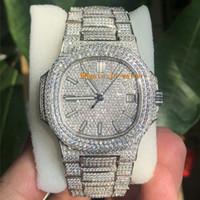 reloj de alta calidad para hombre aaa al por mayor-Más lujoso Calidad Nautilus Movimiento reloj de diamantes reloj automático hombre a prueba de agua de 40 mm inoxidable 316 barrido Move Set Diamond heló hacia fuera el reloj