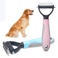 Wholesale stainless steel hair brush for sale - Group buy Pet Dogs Hair Removal Comb Cat Dog Fur Trimming Dematting Deshedding Brush Pet Grooming Tool Matted Long Hair Curly Comb BH2297 TQQ