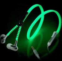 fones de ouvido com zíper móvel venda por atacado-New luminescentes Headphones Night-luz Zipper Headphones Metal-in-ear baixo pesado Belt Mobile Phone Auscultadores Livre de frete