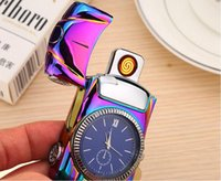Wholesale rechargeable usb watch lighter for sale - Group buy NewIntelligent Electric Lighter windproof USB type Cigarette lighter sensor rechargeable metal watch sports car novetly lighter SN2460