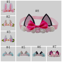 lindas cintas de flores para bebés al por mayor-Diademas para bebés Diademas para gatos para niñas Diademas para animales encantadores Diademas para flores Diademas para conejos lindos EEA237