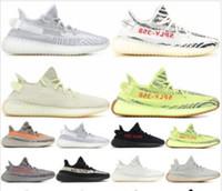 Wholesale 2019 Mens Womens Kanye West Sport Sneakers Sesame O V2 Shoes Static Cream white Bred Blue Tint Butter Designer Shoes