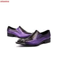 zapatos de vestir de piel de serpiente de los hombres al por mayor-Venta caliente Purple Snakeskin en punta del dedo del pie de los hombres zapatos de vestir de cuero de lujo para hombre zapatos casuales Slip-on hombre oficina fiesta formal