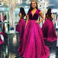 Wholesale green velvet ball dress resale online - 2019 V neck Ball Gown Backless Sequined Sweep Train Evening Wear In Stock Hot Sales High end Occasion Dress