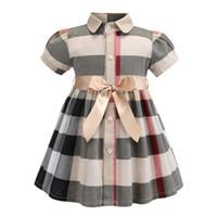 vestido xadrez verão menina venda por atacado-Primavera verão meninas vestido de lapela estilo britânico vestidos de manga curta de algodão kid clothing moda princesa dress camisa xadrez vestido