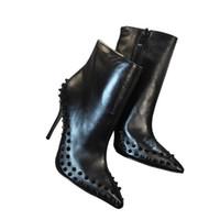 yüksek topuklu kışlık ayakkabılar toptan satış-Moda Lüks Kırmızı Alt Yüksek Topuklu Spike Çizmeler Tasarımcı Çizmeler Siyah Yüksek Topuklu Ayak Bileği Çizmeler Bayan Yılan Cilt Kış Ayakkabı Kaliteli