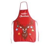 yılbaşı dekor mutfağı toptan satış-1 adet Noel Önlükleri Karikatür Baskılı Şef Önlük Parti Dekor Mutfak Malzemeleri Restoran Pişirme için Ev Pişirme