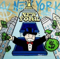 Wholesale new pop art painting resale online - Alec Monopoly High Quality Handpainted HD Print Cartoon Graffiti Pop Art Oil Painting New York Party On Canvas Multi sizes g245
