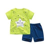 ternos de zebra venda por atacado-Roupa de verão das crianças de algodão de qualidade de manga curta meninos roupas terno do corpo dos desenhos animados crianças roupas conjunto