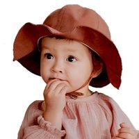 sombreros del bebé del cubo para las muchachas al por mayor-Nuevo 2019 Verano bebé pescador sombreros algodón moda niños Bucket Hat infantil sombreros niños de color sólido niñas sol Caps 4 colores C6658