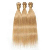 sarışın saç telleri toptan satış-8A Sınıf Brezilyalı Düz Saç Örgü Demetleri Bal Sarışın İnsan Saç 3 Paketler 27 # Bal Sarışın İnsan Saç Uzatma Olmayan Remy