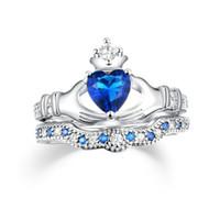rote herz diamanten ring großhandel-Red Heart Ring Blue Diamond Rngs Platin überzogener Ring Kupfer Ringe Set Ringe Hot Fashion Frauen