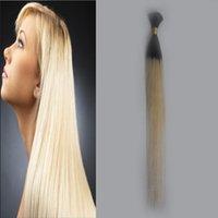 trenzado brasileño de 24 pulgadas. al por mayor-Ombre Hair Bulk 10-30 Pulgadas Human Braiding Hair Bulk Sin Trama 1 Unidades Extensión Recta Brasileña A Granel de Pelo Crochet Envío Gratis
