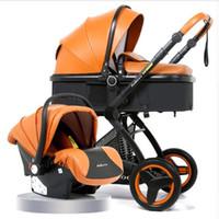 ingrosso carrozzine da viaggio per bambini-Passeggino 3 in 1 con seggiolino auto Passeggino alto paesaggio per passeggini neonato Passeggino Carrozzina pieghevole
