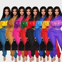 costumes patchwork achat en gros de-Les femmes coupe-vent Survêtement Lettre Imprimé Patchwork Cardigan à capuche Pantalons 2pcs / PORTIER Vêtements de sport Costumes O-OA6564