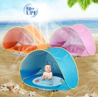 bebek çadır havuzu toptan satış-Yaz Çocuk Bebek Plaj Çadır Taşınabilir Gölge Havuzu Açık Bebek için Güneş Koruma Havuzu Güneş Barınak