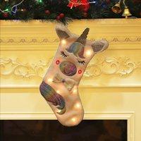 ingrosso ha portato i calzini di natale-Sacchetto regalo per calzini di Natale nuovi a LED Sacchetto per articoli natalizi per decorazione di Natale Sacco regalo per calzini di Natale di unicorno grande LJJA2792