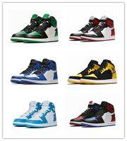 atletik ayakkabı tasarımcıları toptan satış-Erkek Basketbol Ayakkabı Yasaklandı Bred Toe Shadow Top En İyi Kalite Tasarımcı Erkek Kadın Atletizm SneakersÜrdün1 Eğitmenler 36-47