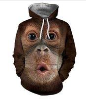 macaco homem suéter venda por atacado-Nova Moda Das Mulheres Dos Homens Macaco Engraçado Moletons 3d Hoodies Outono Inverno Casual Impressão Com Capuz Pullovers Tops WR0100