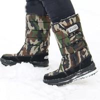наружная обувь кемпинг оптовых-Oeak Winter Boots Мужчины Восхождение Туризм Водонепроницаемые Теплые Хлопковые Ботинки Открытый Охота Кемпинг нескользящие Толстые Снегоступы Safty Shoes