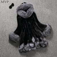 ingrosso bottoni di pelliccia-Cappotto con bottoni in pelliccia con cappuccio, collo largo, collo alto, pelliccia, collo, pelliccia, collo, pelliccia