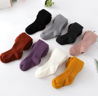 Wholesale children stockings leggings resale online - Girls knitting tight kids twist knitted leggings baby girls cotton breathable stocking children dance princess bottoms A1823