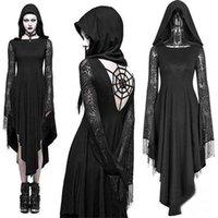 ingrosso pizzo nero aperto abito indietro-Costume Strega Lace Donne di età con cappuccio irregolare orlo aperto indietro Horror Spiderweb abito abito nero di Halloween Gothic Steampunk Fantasma