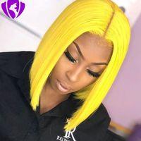 ingrosso parrucca gialla-Parrucca anteriore piena del merletto dei capelli di 150density Parrucche corte del Bob per le donne parrucche sintetiche gialle / nere / marroni / rosa / rosse / bionde resistenti al calore