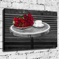 café emoldurado da pintura venda por atacado-Flor da mesa de café, Home Decor HD Impresso Arte Moderna Pintura sobre Tela (Sem Moldura / Emoldurado)