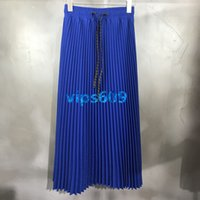 Wholesale high end drawstrings resale online - High end women girls summer women s new pleated skirt letter printing Drawstring Waist fashion casual ladies fashion wild skirt