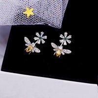 ingrosso orecchini a vite diamanti gialli-Moda orecchini in argento sterling Bling strass giallo orecchini ape carino CZ cristallo diamanti orecchini orecchino donne gioielli da sposa