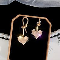 jóia em forma de nó venda por atacado-2019 Mulheres Brincos Pingente Brincos De Cristal Em Forma De Coração Atado Assimétrico Moda Jóias Presentes Do Partido Acessórios