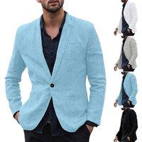 ingrosso vestiti casuali sottili in cotone-Slim Suit Giacche Il nuovo modo casuale degli uomini Uomo Slim Fit Cotone Miscela Solid maniche lunghe sottile Suits Blazer Outwear M-3XL